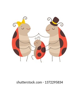 Ladybug Family, Cheerful Mother, Father Ladybugs and Their Baby Holding Hands, Cute Cartoon Insects Characters Vector Illustration