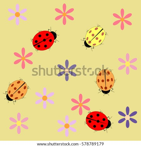 ladybug flower seamless pattern fashion graphic stock vector
