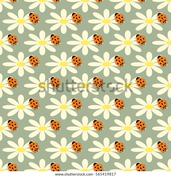 24d5bd03ca33 Ladybug Flower Seamless Pattern Fashion Graphic Stock Vector ...