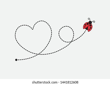 Ladybug Flying on a Heart Shaped Dotted Route
