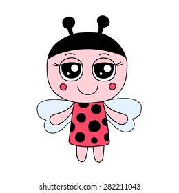 Ladybug girl vector, in red dress with black dots. Isolated cute illustration.