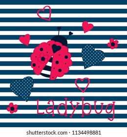 ladybug with hearts on striped backgorund, love card, T-shirt graphics design for kids
