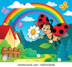 Ladybug holding flower theme image 4 - eps10 vector illustration.