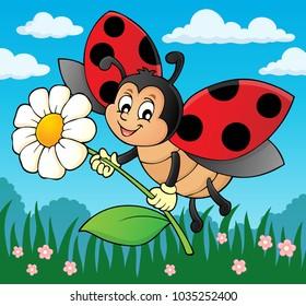 Ladybug holding flower theme image 2 - eps10 vector illustration.