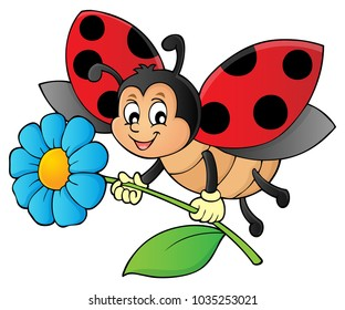 Ladybug holding flower theme image 1 - eps10 vector illustration.