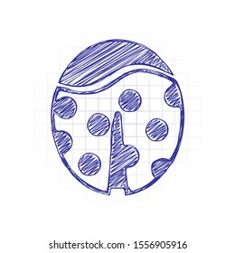 Ladybug icon. Hand drawn sketched picture with scribble fill. Blue ink. Doodle on white background