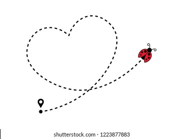 Ladybug icon with heart shaped dotted path line
