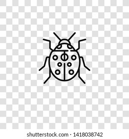 ladybug icon from insects collection for mobile concept and web apps icon. Transparent outline, thin line ladybug icon for website design and mobile, app development