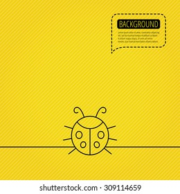 Ladybug icon. Ladybird insect sign. Flying beetle bug symbol. Speech bubble of dotted line. Orange background. Vector