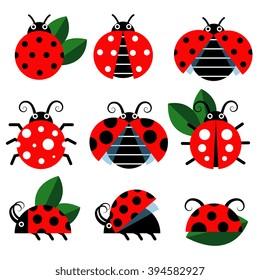 Ladybug icons. Cute ladybugs funny insect vector on white