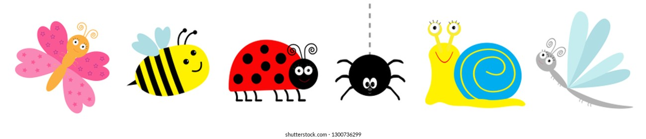 Ladybug, ladybird, bee, dragonfly butterfly, spider snail. Cute cartoon kawaii funny insect set line. White background. Isolated. Vector illustration