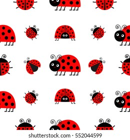 Ladybug Ladybird icon set. Baby collection. Funny insect. Seamless Pattern Wrapping paper, textile template. White background. Flat design. Vector illustration.