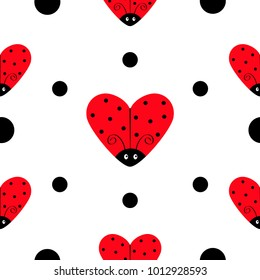 Ladybug Ladybird icon set. Heart shape. Baby collection. Funny kawaii baby insect. Black dots. Seamless Pattern Wrapping paper, textile template. White background. Flat design. Vector illustration