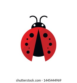 Ladybug or ladybird vector graphic illustration, isolated. Cute simple flat design of black and red lady beetle. Vector EPS 10