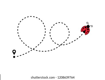 Ladybug moving on a dotted route