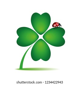 ladybug on cloverleaf on white background vector illustration EPS10