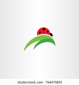 ladybug on leaf logo icon vector element