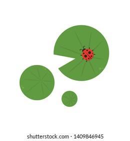 ladybug on lotus leaf. wallpaper. free space for text. background. symbol. lotus leaf vector.