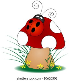 Ladybug on a Mushroom.