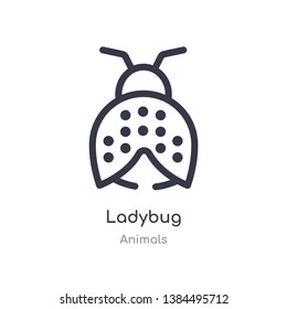 ladybug outline icon. isolated line vector illustration from animals collection. editable thin stroke ladybug icon on white background