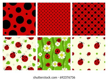 Ladybug patterns set. Vector cute ladybird textures.