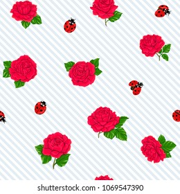 Ladybug and roses seamless pattern, texture; background. On white and blue diagonal stripes background. Vector illustration.