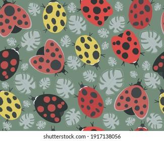Ladybug seamless background, vector graphics