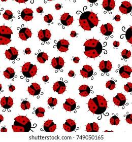 Ladybug seamless pattern, abstract texture; vector art illustration