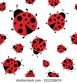 Ladybug seamless pattern. Big and small cute ladybirds background. Bright backdrop, wrapping for kids and adults