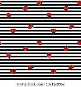 Ladybug seamless pattern, texture; background. Red ladybugs on black-and-white stripes background. Vector illustration