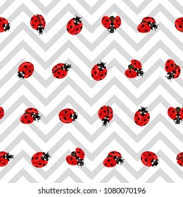 Ladybug seamless pattern, texture; background. Red ladybugs on gray zigzag background. Vector illustration