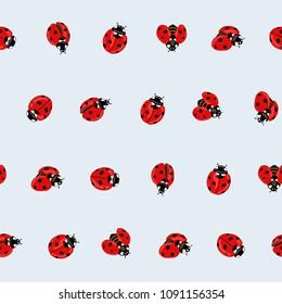 Ladybug seamless pattern, texture; background. Red ladybugs on blue background. Vector illustration