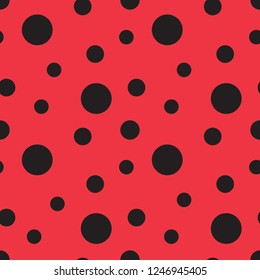 Ladybug seamless vector pattern. Seamless pattern with red background and black spots