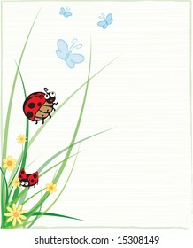 Ladybug sitting on stem with several butterflies