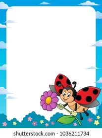 Ladybug theme frame 1 - eps10 vector illustration.
