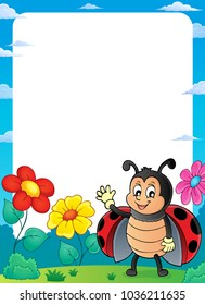 Ladybug theme frame 2 - eps10 vector illustration.