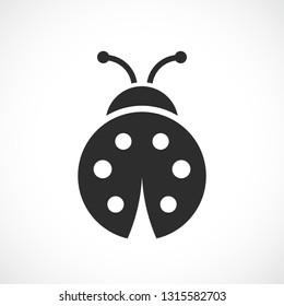 Ladybug vector icon on white backrgound