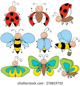 Ladybugs, bees and butterfly cartoon drawing characters isolated vector