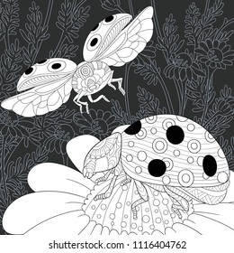 Ladybugs drawn in line art style. Daisy flowers. Floral background in black and white colors on chalkboard. Coloring book. Coloring page. Zentangle vector illustration.
