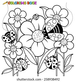 Ladybugs and flowers coloring page.