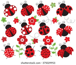 ladybugs in the garden (red)