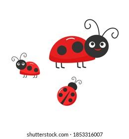 Ladybugs icon sign isolated on white background vector illustration. Funny cartoon character.