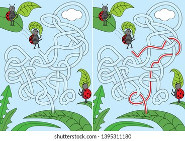 Ladybugs jumping with leaf parachutes -  maze for kids with a solution