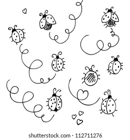 Ladybugs and lines cartoon isolated on a white