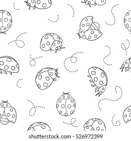 Ladybugs and lines cartoon seamless pattern isolated on a white background