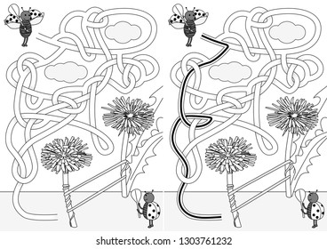 Ladybugs playing tennis maze for kids with a solution in black and white