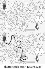 Ladybugs in the rain maze for kids with a solution
