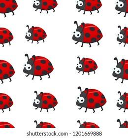 ladybugs vector seamless pattern