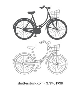 Lady's bike with basket isolated on white background. Bicycle outline.