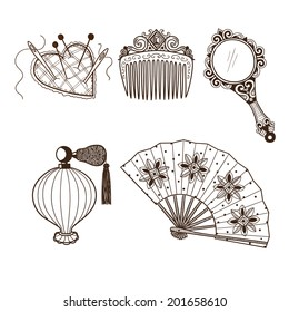Lady's vintage beauty accessories collection. Hand drawn vintage style. Eps 10 vector illustration.
